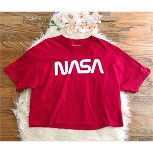 NWOT Chemistry Red NASA Logo Cropped Tee